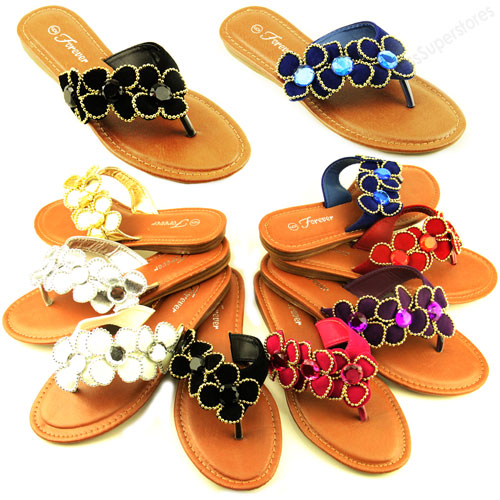 Womens Flip Flops Flats Fashion Beach Sandal Rhinestone Thongs