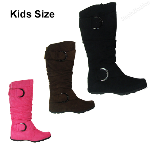 Girls Kids Boots Knee High Faux Suede Flat Boot Fashion Slouch ...