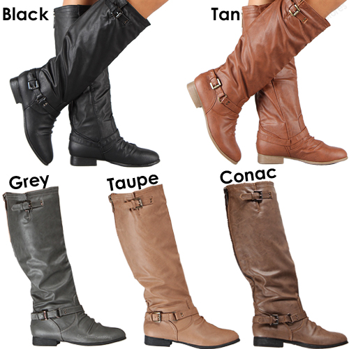 Womens Riding Boots Knee High Fashion Slouch Faux Leather Hot ...