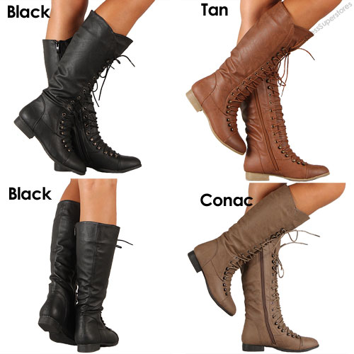 Womens Lace Up Boot Knee High Combat Fashion Military Boots Faux
