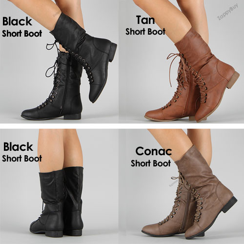 Womens Lace Up Boot Knee High Combat Fashion Military Boots Faux ...