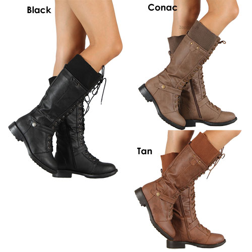 Simple Black Lace Up Combat Military Women Chunky High Heel Ankle Boots