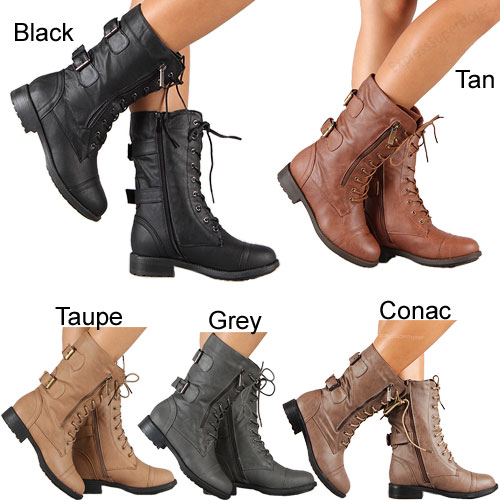 Womens Combat Military Boots Lace Up Buckle New Women Fashion Boot ...