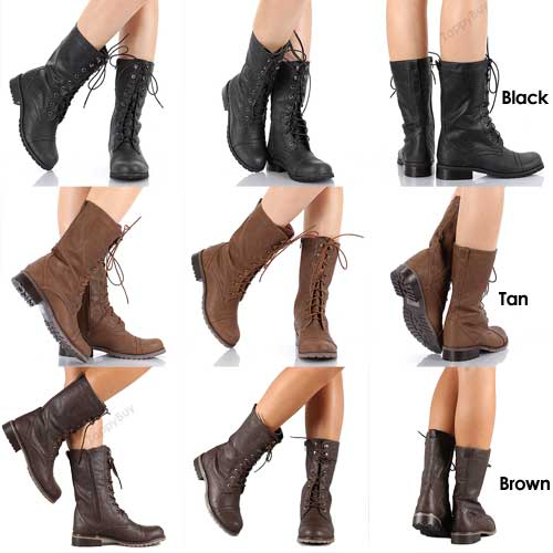 NEW Womens Boots Combat Military Lace Up with Zipper Fashion Boot ...
