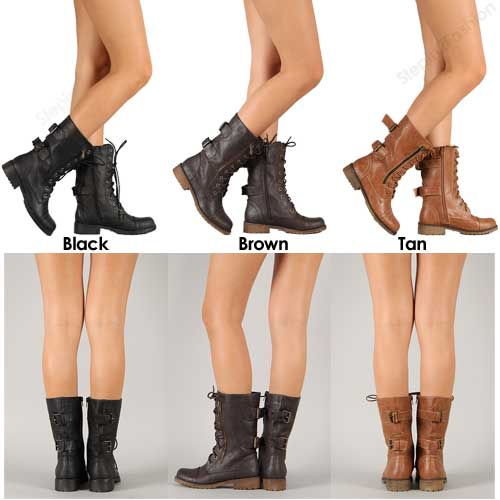 New Womens Military Combat Boot Lace Up Buckle Fashion Boots Shoe ...