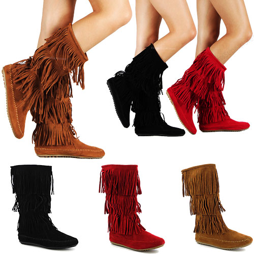 FRINGE BOOTS IN BROWN, BLACK, AND RED. on The Hunt