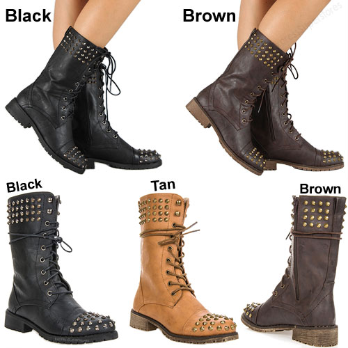 New Womens Military Combat Studded Boot Lace Up Women Fashion ...