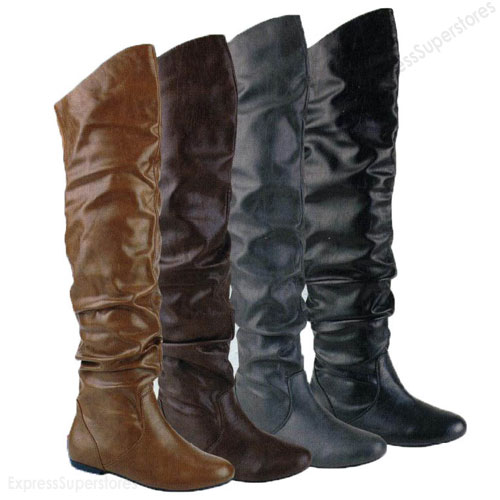 womens knee thigh high slouch suede flat boots choose