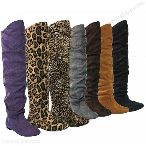 Womens Over Knee Thigh High Slouch Suede Flat Boots Choose Size | eBay